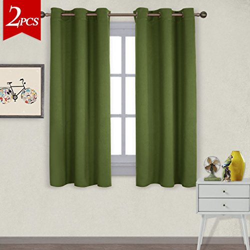 NICETOWN Thermal Insulated Solid Grommet Blackout Curtains / Drapes for Livingroom (One Pair,42 by 63-Inch,Olive Green) (Curtain 1)