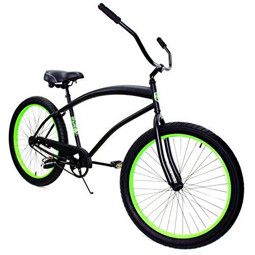 Zycle FixバイクCobraシリーズ26インチホイールビーチクルーザー自転車 – マットブラックW /ネオングリーンリム B06W9KMDLC