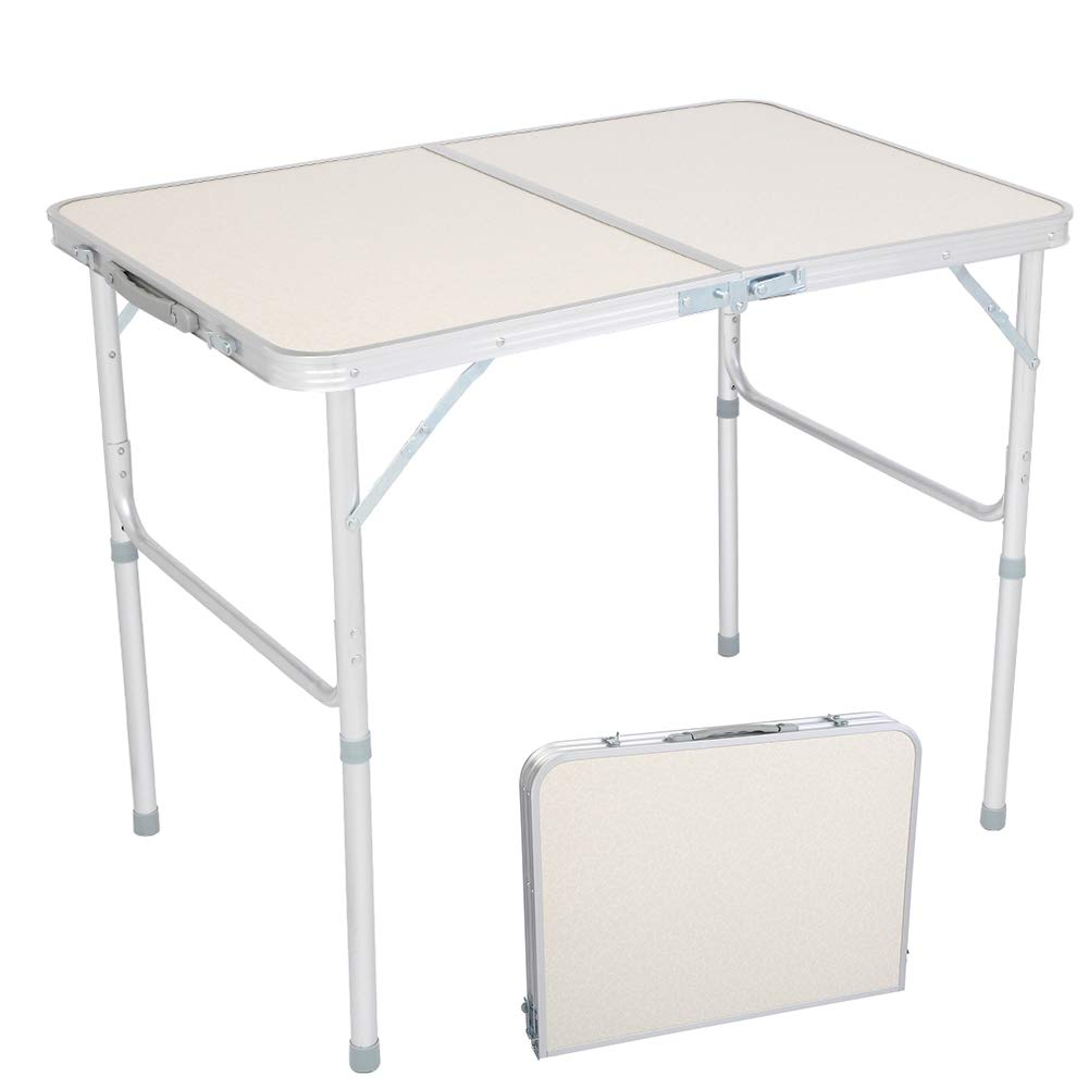 Lovinland Aluminum Folding Table, Portable Camping Table 3 Foot Lightweight Foldable Table Height Adjustable for Party Picnic Dining Outdoor Indoor Use