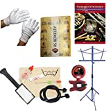Trombone Players Mega Pack - Essential Accessory Pack for the Trombone: Includes:Trombone Care & Cleaning Kit, Polish Gloves, Music Stand, Band Folder, Standard of Excellence Book 1 for Trombone, & Tuner & Metronome