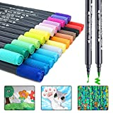 Dual Brush Pen Art Markers,24 Watercolor Drawing Pens Highlighters for Fine Art, Illustrations, Doodling, Journaling, Hand Lettering