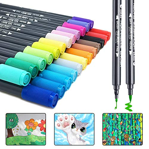 Dual Brush Pen Art Markers,24 Watercolor Drawing Pens Highlighters for Fine Art, Illustrations, Doodling, Journaling, Hand Lettering by JR.WHITE