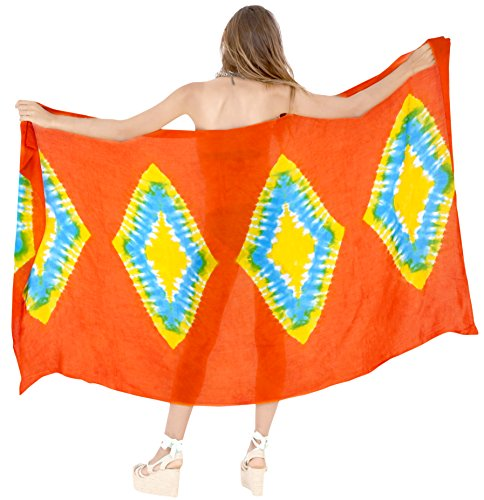 Pareo Involucro Costume Womens Costumi Rayon Da Bagno Sarong Leela Arancione Spiaggia f710 Coprire La EwqUzw