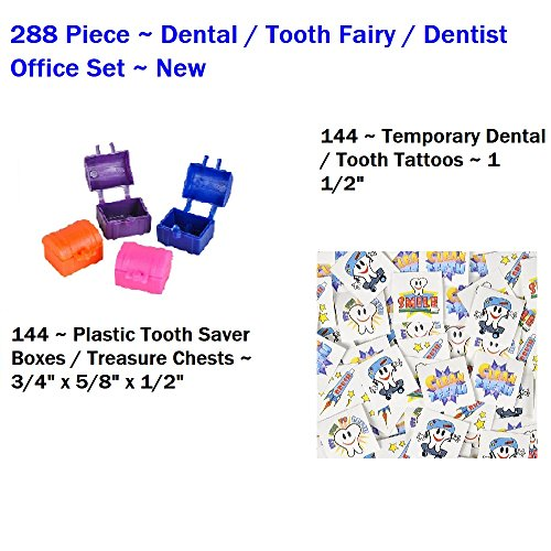 288 Piece ~ Dental / Tooth Assortment ~ 144 Tooth Boxes + 144 Tattoos ~ New ~ Great for Dentists or School Nurses