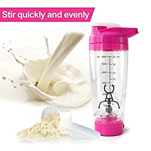 Electric Drink Mixer Vortex Shaker Bottle For Protein Powder, Portable Sport Shaker Cup, Storage Cup AAA Battery Operated 600ml 20Oz, Leak Proof Lid, BPA Free Material, Pink Color