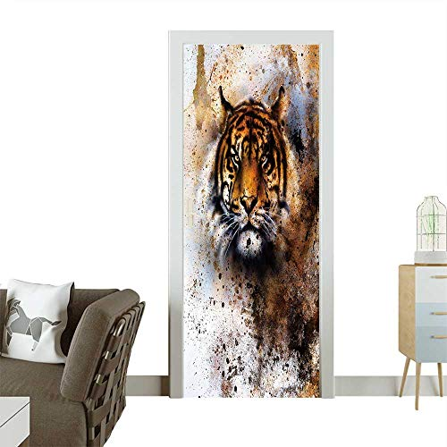 (Art Door Stickers Tiger Collage on Color Abstract Background,Rust Structure,Wildlife Animals Door Decals for Home Room Decoration W38.5 x H77)