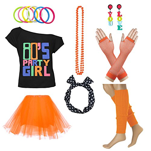 80's Party Girl Retro Costume Accessories Outfit Dress for 1980s Theme Party Supplies (XL/XXL, Orange) -