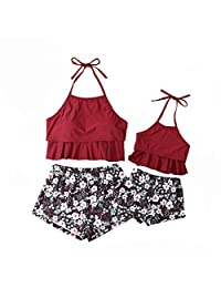 CQHY MALL Parent- Child Swimwear Ruffle Floral Halter Swimsuit Set Family Matching Outfit