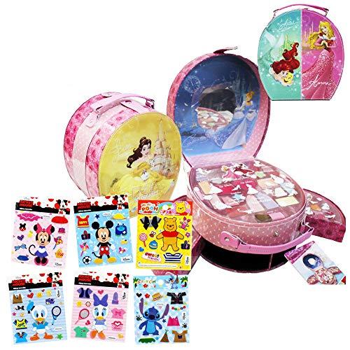 【디즈니 프린세스 Disney Princess】씰 부착 환타입 코스메틱 메이크 백 캐리 백 아이샤도우13색 립18색