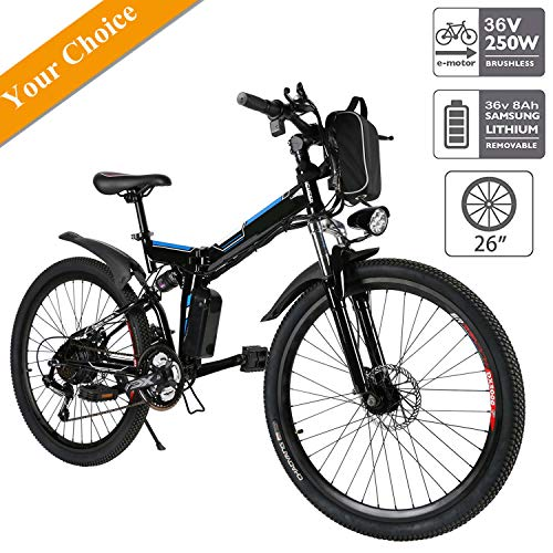 Aceshin 26'' Electric Mountain Bike with Removable Large Capacity Lithium-Ion Battery (36V 250W), Electric Bike 21 Speed Gear and Three Working Modes Black (US Stock) (26''-Black)