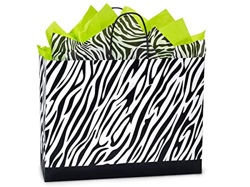 Recycled Zebra Print Gift Bags - Vogue Zebra Paper Shopping 100% Rec Bulk 16x6x12-1/2