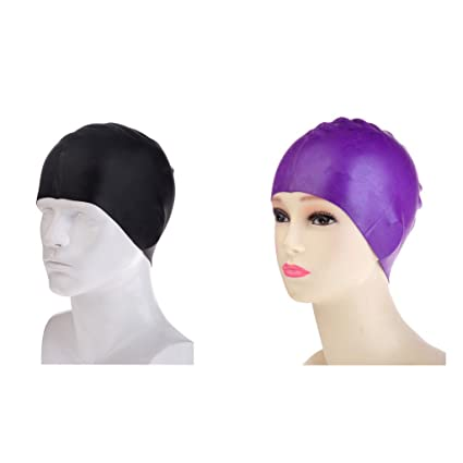 3cf2620b03ece Globalwells 2 pieces Silicon Swimming Cap - Perfect Head Fit ¨CWomen Men  Adults Thick And
