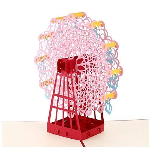 Cards & Invitations - 3d Handmade Pop Up Ferris Wheel Design Birthday Card Kirigami Folding Christmas Halloween - Card Birthday Design Postcards -