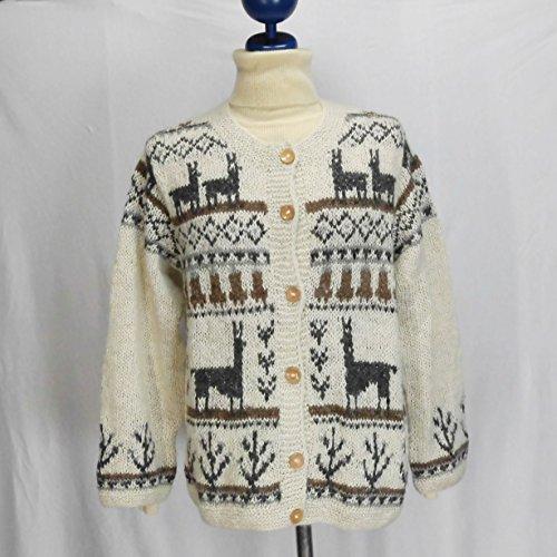 手紡ぎアルパカ100%の高級手編みカーディガン (白)