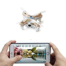 ZV RC Mini Drone With Camera live video Nano Quadcopter with Camera Live view Control by iPhone SmartPhone (Gold)