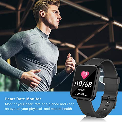 Smart Watch, 1.4 inches Full Touch Screen, Bluetooth5.0, Heart Rate/Sleep Monitor, Pedometer, SMS Notification, Incoming Call Reminder, IP68 Waterproof Compatible with iPhone Samsung Android Phones