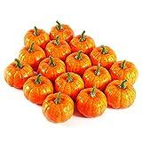 Nixikoo 5.5cm Emulational Small Pumpkin Foam Artificial Lifelike Simulation Fall Harvest Mini Pumpkins for Halloween Home Decoration Pack of 16