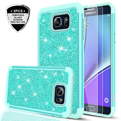 Galaxy Note 5 Glitter Case with [2 Pack] Tempered Glass Screen Protector, LeYi Bling Cute Girls Women [PC Silicone Leather] Dual Layer Heavy Duty Protective Case for Samsung Galaxy Note 5 TP Mint