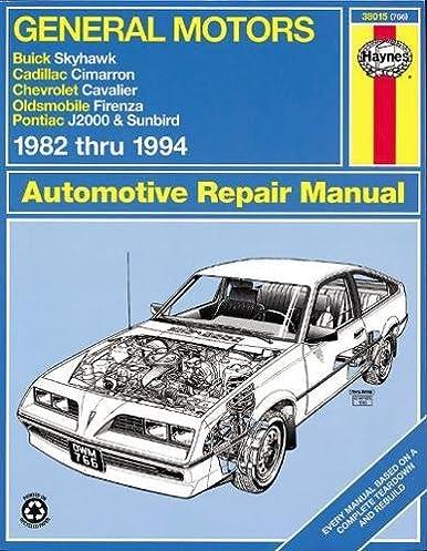general motors j cars automotive repair manual 1982 through 1994 rh amazon com 1998 Pontiac Sunbird 1994 Pontiac Sunbird Interior