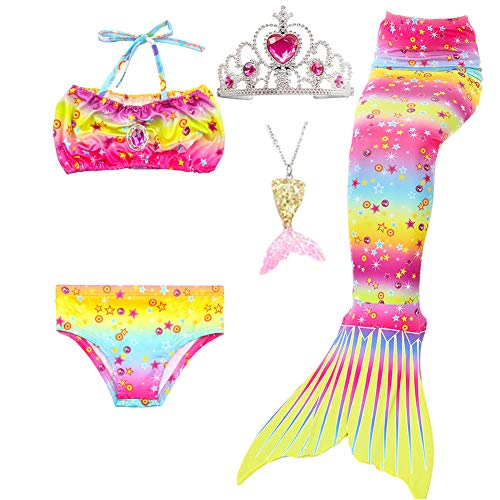 5Pcs Girls Swimsuit Mermaid Tails for Swimming Princess Bikini Bathing Suit Set Can Add Monofin for 4T 6T 8T 10T 12T (12, hot Pink & Yellow)