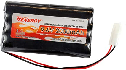 Replacement Hobby Pack with Standard Tamiya Connectors Black Tenergy 91031 9.6V Flat NiMH for RC Car 2 Battery Packs + 1 Charger High Capacity 8-Cell 2000mAh Rechargeable