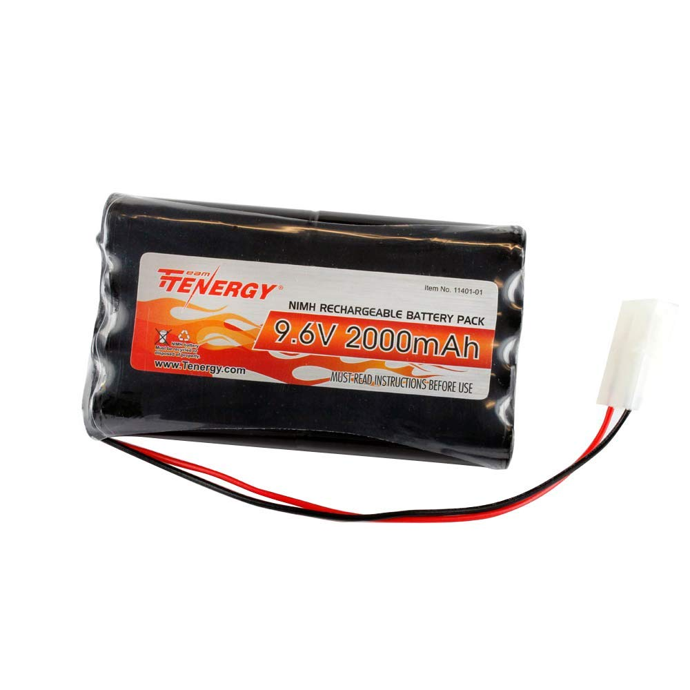 Tenergy 9.6V Flat NiMH Battery Packs for RC Car, High Capacity 8-Cell 2000mAh Rechargeable Battery Pack, Replacement Hobby Battery Pack with Standard Tamiya Connectors