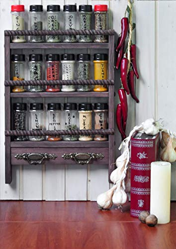 Custom Rustic Wall Mounted Wooden Spice or Essential Oil Rack with Towel Holders - Oak Style finish, Rustic Style Wrapped Rope Bars, Small Farmhouse Wood Spice Rack (Rack Jar Traditional)