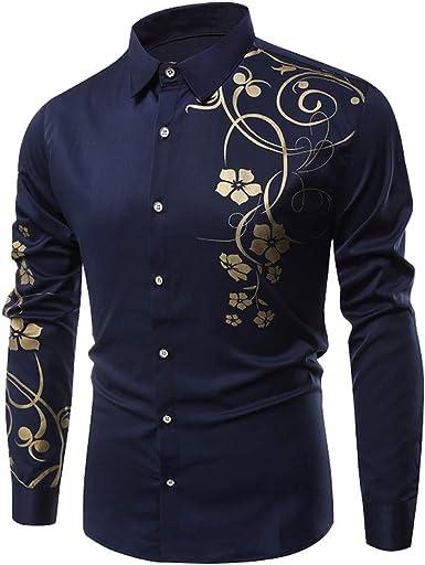 Camisa De Manga Larga para Hombre BotóN De Color SóLido Camisa Causal Blusa Superior (XXL, Azul Oscuro C): Amazon.es: Ropa y accesorios