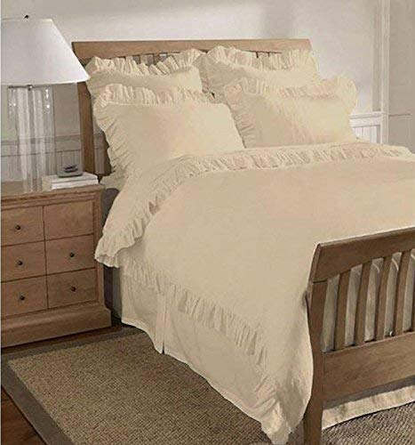 Aashi Rainwear 1 Piece Frilled Duvet Cover - Comes with Beautiful Corner Ruffle Edges 100% Egyptian Cotton 400 TC Comforter Cover (Ivory Solid, Full/Queen)