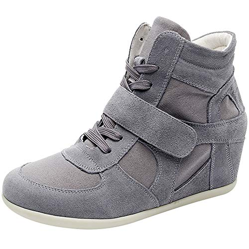 Sneakers Leather Wedge - rismart Women's Wedge Casual Hook&Loop Fabric&Suede Leather Fashion Sneakers 8522(Dark Grey,US7)