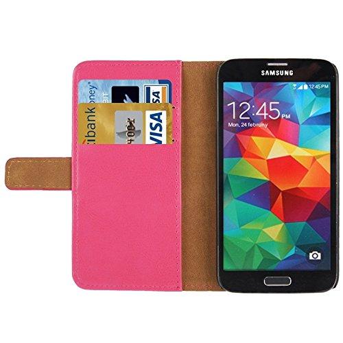 Mxnet Crazy Horse textura de cuero con la tarjeta de crédito ranura y titular para Samsung Galaxy S5 / G900 Fundas ( Color : White ) Magenta