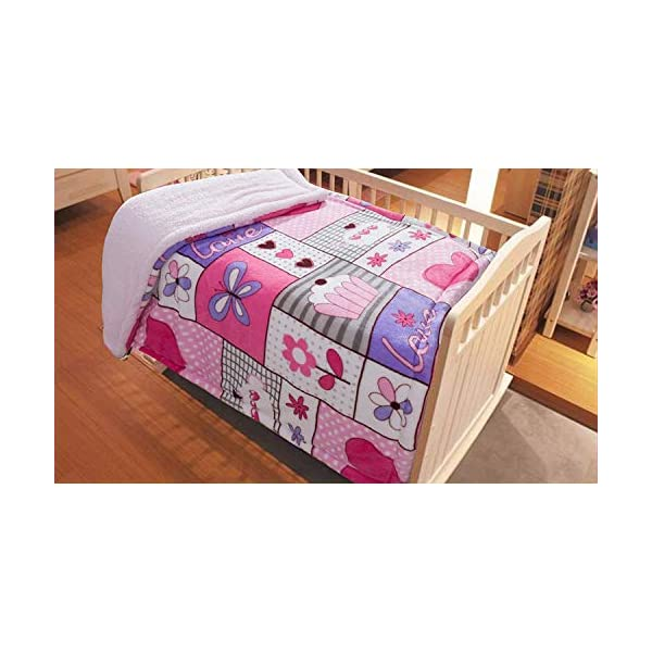 MB Collection Kids Soft & Warm Sherpa Baby Toddler Girl Sherpa Blanket Pink Purple Patchwork Butterflies Flowers Hearts Cake Printed Borrego Stroller or Toddler Bed Blanket Plush Throw 40″ X 50# Cake