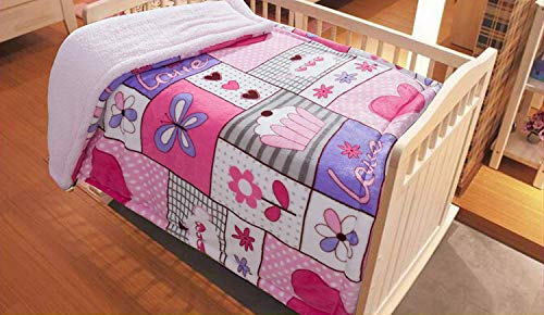 MB Collection Kids Soft & Warm Sherpa Baby Toddler Girl Sherpa Blanket Pink Purple Patchwork Butterflies Flowers Hearts Cake Printed Borrego Stroller or Toddler Bed Blanket Plush Throw 40