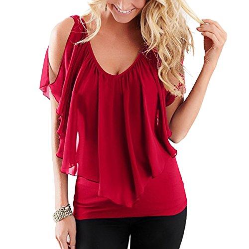 paule Shirt Froide en T Blouse Souris Volants De Red Color T XXL Chauve Femmes Mousseline Size Ray Shirt Soie Manches 5wt0nq8