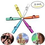 LovesTown 6 Different Colors of Metal Kazoos Musical Instruments Flutes Kids,Guitar, Ukulele, Violin, Piano Keyboard