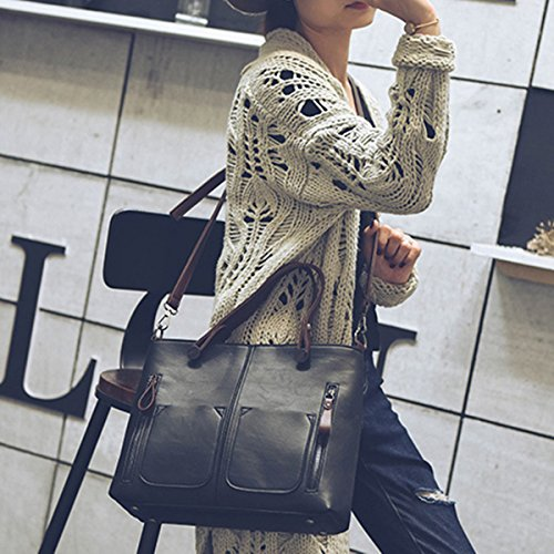 Women Leather Dating Crossbody Soft Handbags Retro Bags Brown Bags Satchel Large Capacity Solid JOSEKO Handle Top Black Tote RwCIUU
