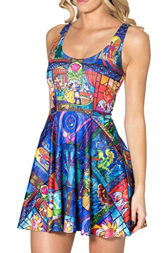 OUCHI Women Retro Summer Digital Printed Stretch Slim Fit Pleated Tank Dress One Size Princess & Prince Blue