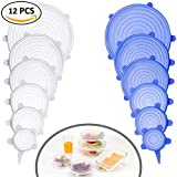 (US) Farielyn-X Silicone Stretch Lids (12 Pack,Double Color,Various Size), Reusable Durable and Expandable Lids, Eco-friendly Stretch for Container, Bowl and Cup in Dishwasher, Refrigerator and Microwave