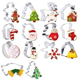 Christmas Cookie Cutter - 14 Stainless Steel Holidays Cookies Molds - Unique 3D Shaped Christmas DIY Baking Moulds Xmas Gift