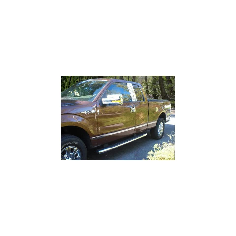 Made In USA 09 14 F150 Super/Ext Cab 8 Foot Long Bed Without Fender Flare Rocker Panel Chrome Stainless Steel Body Side Moulding Molding Trim Cover 1 1/2 Wide 10PC