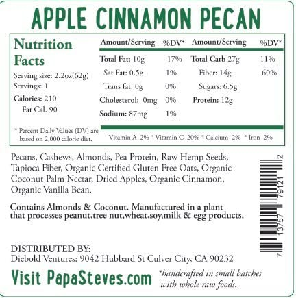 Papa Steve s No Junk Raw Protein Bars, Apple Cinnamon Pecan, 2.2 Oz, 10 Count
