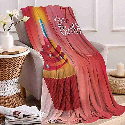 Betterull 70th Birthday Throw Blanket Abstract Sun Beams Inspired Backdrop with Surprise Party Cupcake Image Velvet Plush Throw Blanket 60x36 Inch Red and Orange