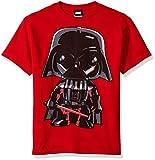 Star Wars Big Boys' Cartoon Funk Darth Vader Emoji Graphic Tee, Red, YL