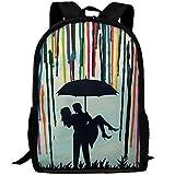 YOYUPRO Casual Style Lightweight Oxford Backpack School Bag Travel Daypack, Custom Handmade Wedding Gift Couple Under Umbrella Painting