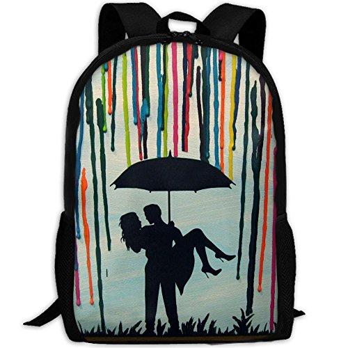 YOYUPRO Casual Style Lightweight Oxford Backpack School Bag Travel Daypack, Custom Handmade Wedding Gift Couple Under Umbrella Painting by YOYUPRO