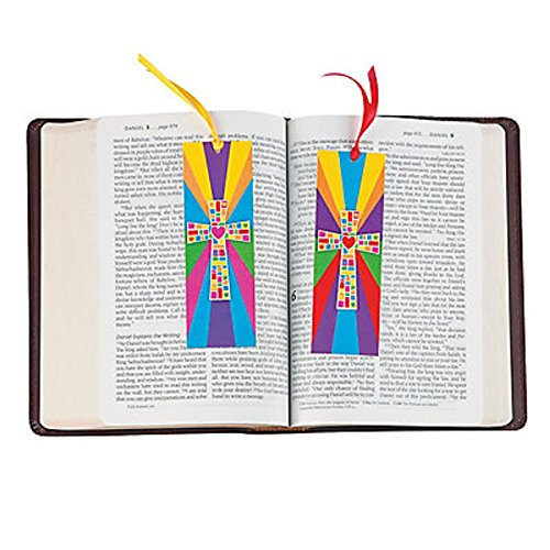 24 colorful cross bookmarks approx 2 x 6 lightweight cardboard with satin ribbon new