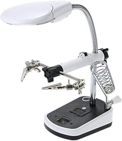 EUROXANTY® Lupa de Mesa | Soporte para Soldador | 5 luz LED | 2 ...