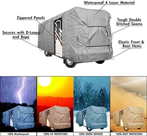 Engine And Both Side Storage Areas Waterproof Superior RV Motorhome Fifth Wheel Cover Covers Class A B C Fits Length 35-40 New Travel Trailer Camper Zippered Panels Allow Access To The Door