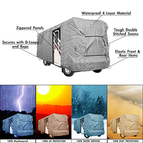 ENGINE AND BOTH SIDE STORAGE AREAS WATERPROOF SUPERIOR RV MOTORHOME FIFTH WHEEL COVER COVERS CLASS A B C FITS LENGTH 31-34 NEW TRAVEL TRAILER CAMPER ZIPPERED PANELS ALLOW ACCESS TO THE DOOR