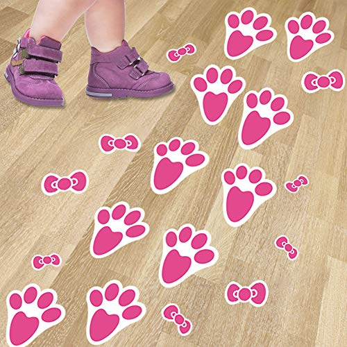 48Ct Easter Bunny Paw Footprints Print Floor Decals Stickers Clings for Easter Party Decoration ()